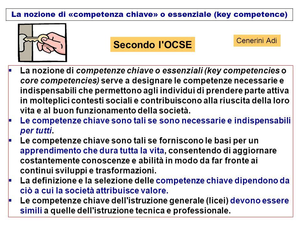La nozione di «competenza chiave» o essenziale (key competence) La nozione di competenze chiave o essenziali (key competencies o core competencies) se