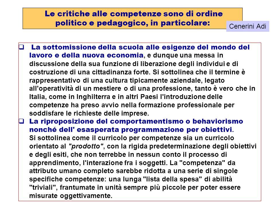 Le critiche alle competenze sono di ordine politico e pedagogico, in particolare: La sottomissione della scuola alle esigenze del mondo del lavoro e d