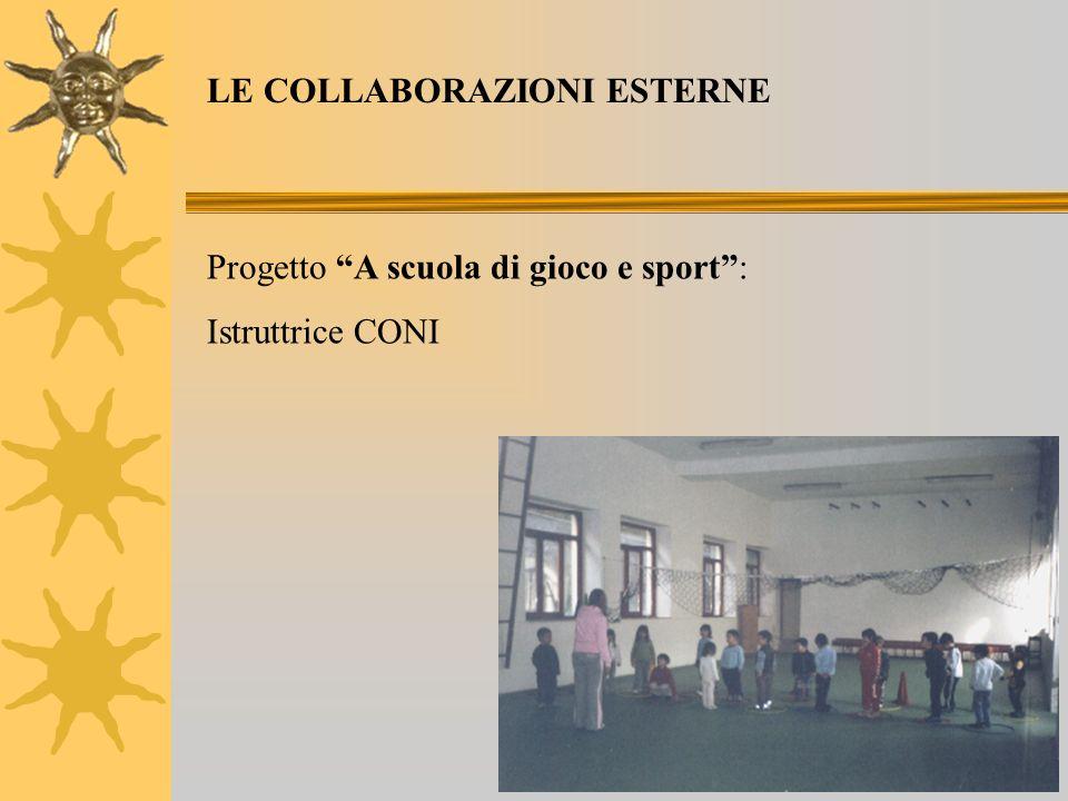 Progetto A scuola di gioco e sport: Istruttrice CONI LE COLLABORAZIONI ESTERNE