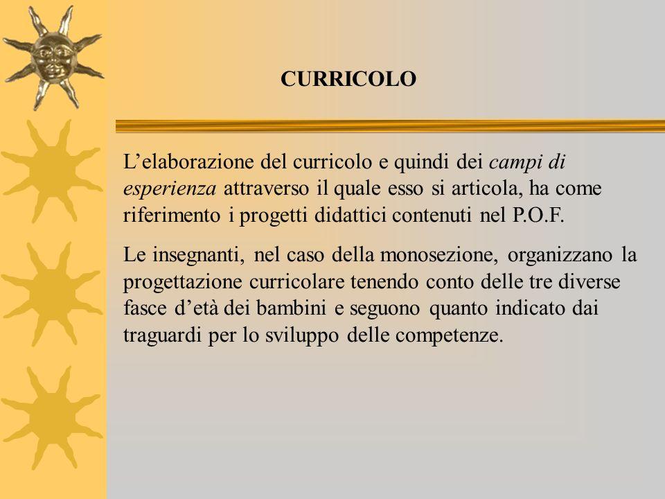 Lelaborazione del curricolo e quindi dei campi di esperienza attraverso il quale esso si articola, ha come riferimento i progetti didattici contenuti nel P.O.F.