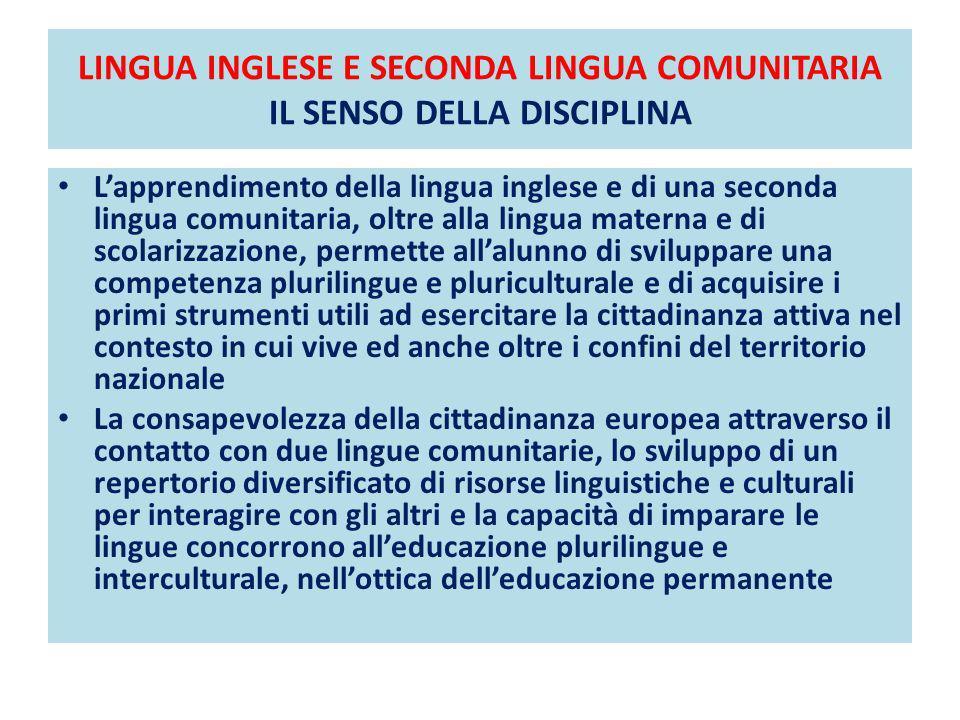LINGUA INGLESE E SECONDA LINGUA COMUNITARIA IL SENSO DELLA DISCIPLINA DIDATTICA PER LA GRAMMATICA Lapprendimento della lingua inglese e di una seconda