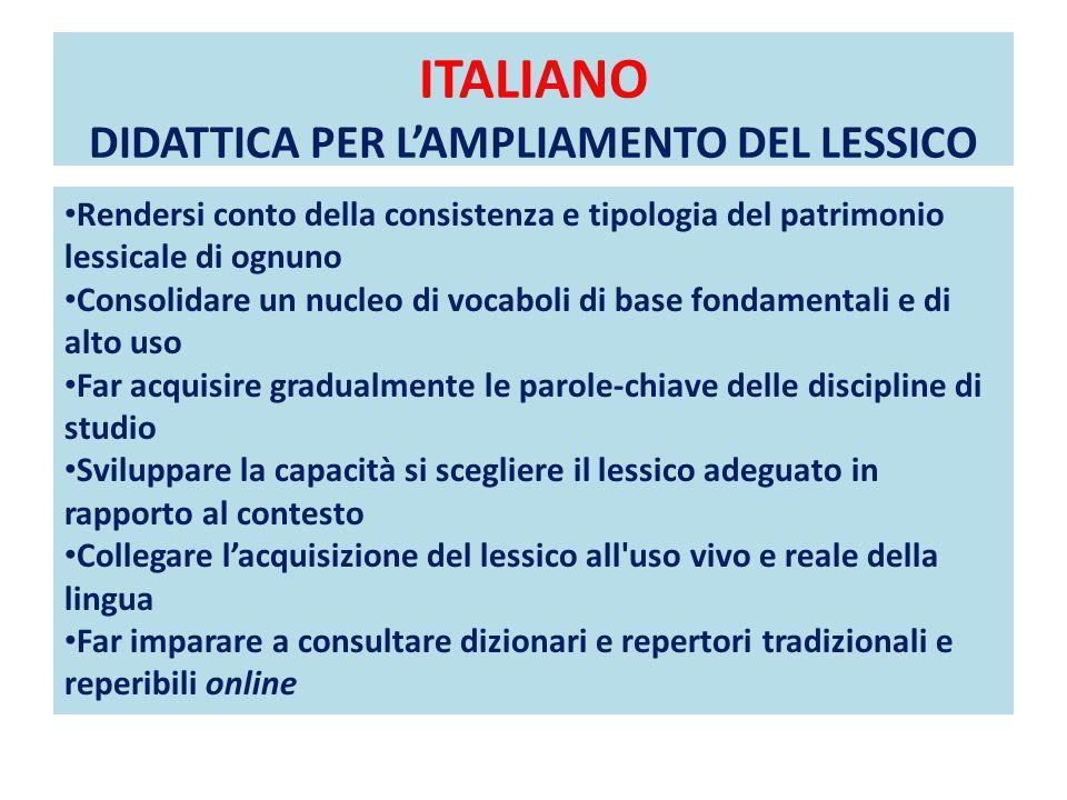 ITALIANO DIDATTICA PER LAMPLIAMENTO DEL LESSICO Rendersi conto della consistenza e tipologia del patrimonio lessicale di ognuno Consolidare un nucleo