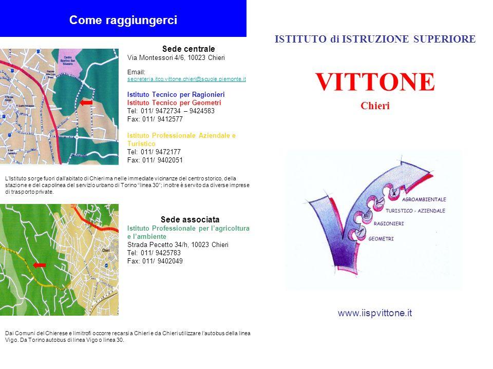 ISTITUTO di ISTRUZIONE SUPERIORE VITTONE Chieri www.iispvittone.it Come raggiungerci Sede centrale Via Montessori 4/6, 10023 Chieri Email: segreteria.