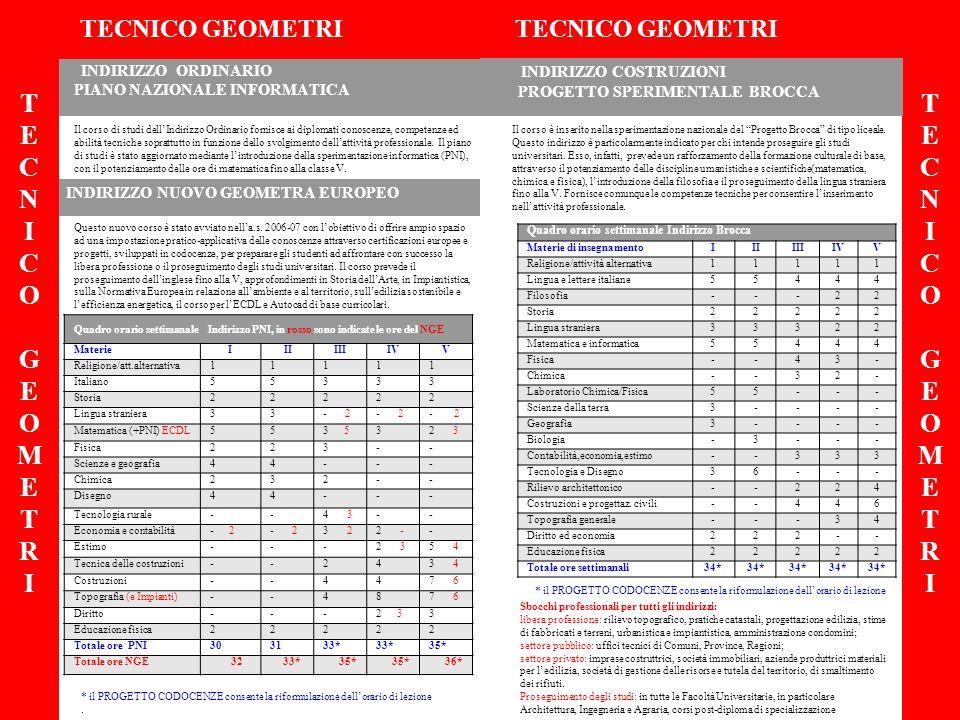 INDIRIZZO ORDINARIO PIANO NAZIONALE INFORMATICA INDIRIZZO NUOVO GEOMETRA EUROPEO TECNICO GEOMETRI TECNICO GEOMETRI TECNICOGEOMETRITECNICOGEOMETRI TECN