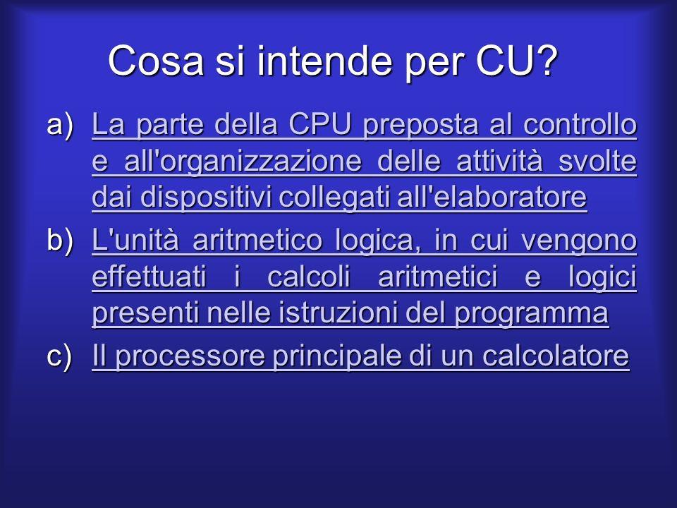 Cosa si intende per CU.