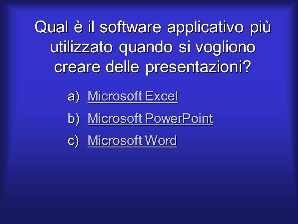 Qual è il software applicativo più utilizzato quando si vogliono creare delle presentazioni.