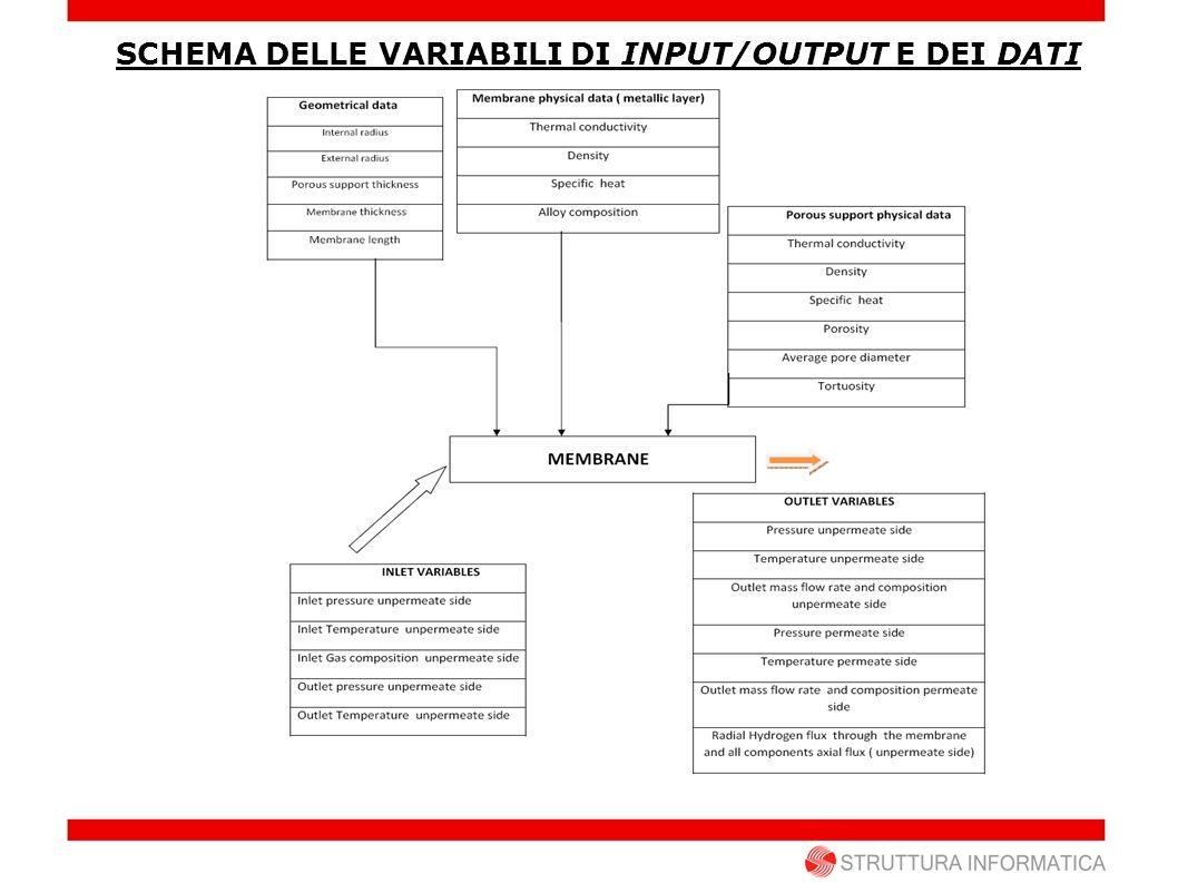 SCHEMA DELLE VARIABILI DI INPUT/OUTPUT E DEI DATI