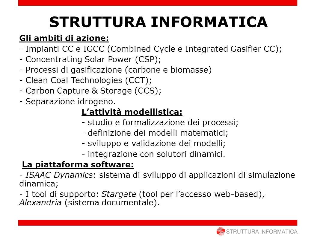 Gli ambiti di azione: - Impianti CC e IGCC (Combined Cycle e Integrated Gasifier CC); - Concentrating Solar Power (CSP); - Processi di gasificazione (