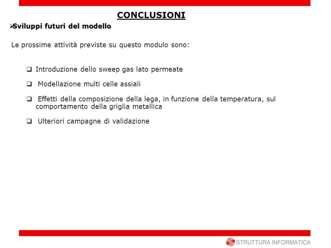 CONCLUSIONI Sviluppi futuri del modello Sviluppi futuri del modello Le prossime attività previste su questo modulo sono: Introduzione dello sweep gas