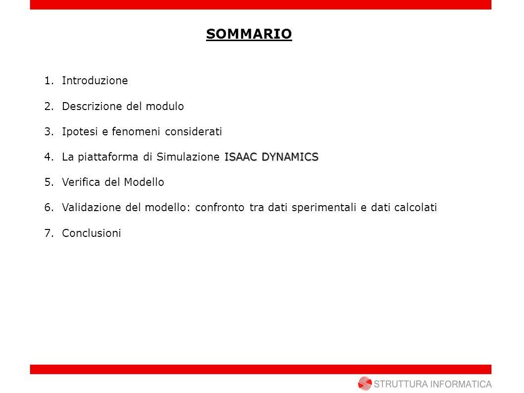 SOMMARIO 1.Introduzione 2.Descrizione del modulo 3.Ipotesi e fenomeni considerati ISAAC DYNAMICS 4.La piattaforma di Simulazione ISAAC DYNAMICS 5.Veri