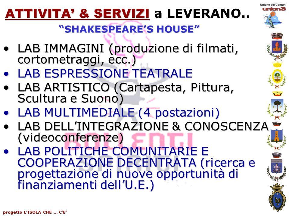 progetto LISOLA CHE … CE ATTIVITA & SERVIZI ATTIVITA & SERVIZI a LEVERANO.. LAB IMMAGINI (produzione di filmati, cortometraggi, ecc.)LAB IMMAGINI (pro