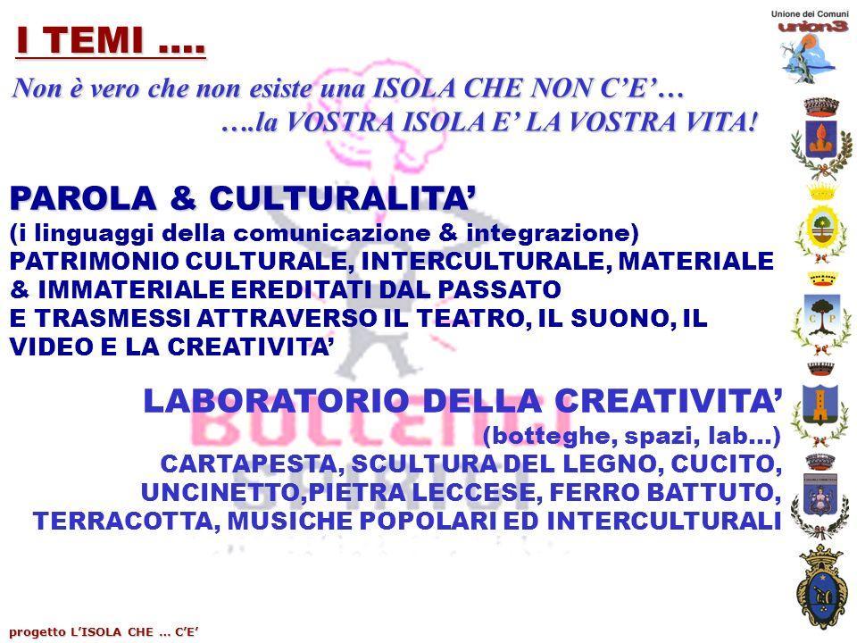 progetto LISOLA CHE … CE I TEMI …. PAROLA & CULTURALITA (i linguaggi della comunicazione & integrazione) PATRIMONIO CULTURALE, INTERCULTURALE, MATERIA