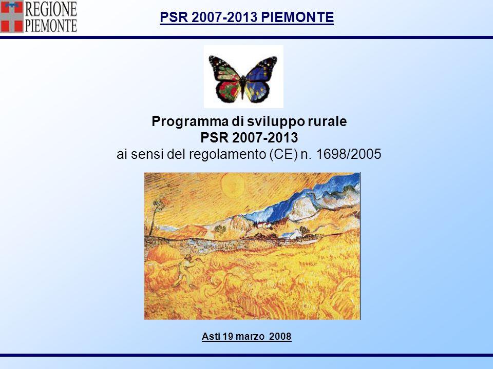 PSR 2007-2013 PIEMONTE Programma di sviluppo rurale PSR 2007-2013 ai sensi del regolamento (CE) n. 1698/2005 Asti 19 marzo 2008
