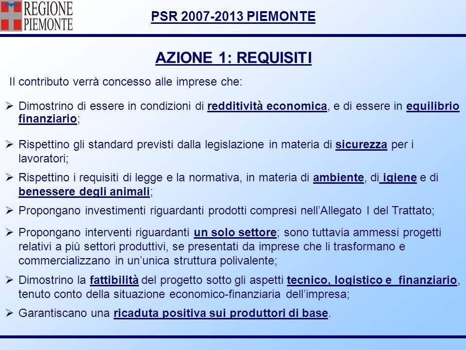 PSR 2007-2013 PIEMONTE AZIONE 1: REQUISITI Dimostrino di essere in condizioni di redditività economica, e di essere in equilibrio finanziario; Rispett