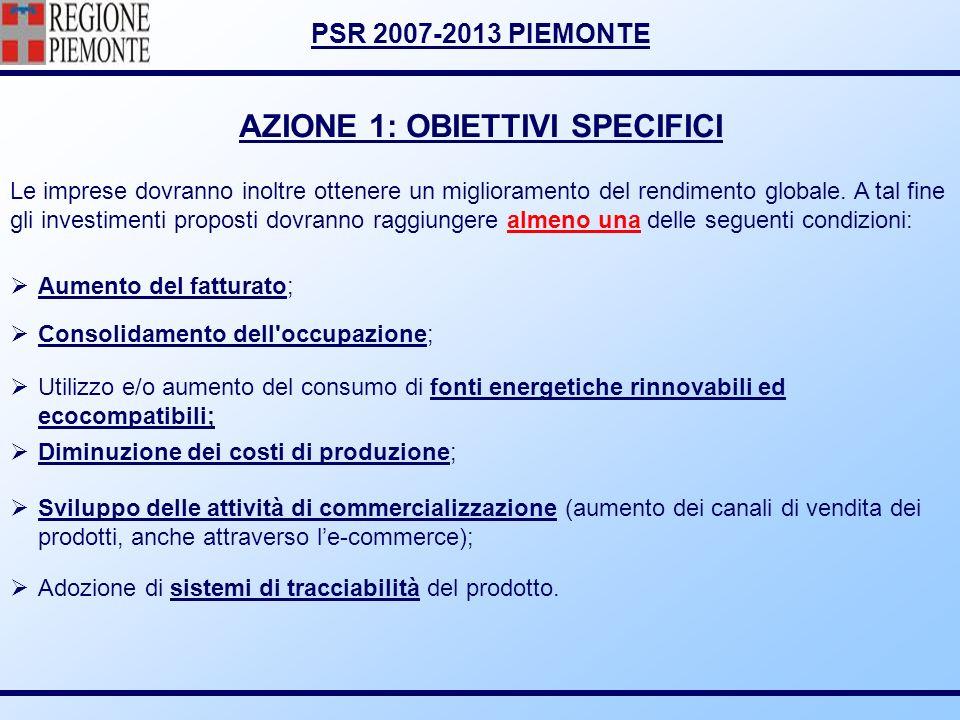 PSR 2007-2013 PIEMONTE AZIONE 1: OBIETTIVI SPECIFICI Aumento del fatturato; Consolidamento dell'occupazione; Utilizzo e/o aumento del consumo di fonti