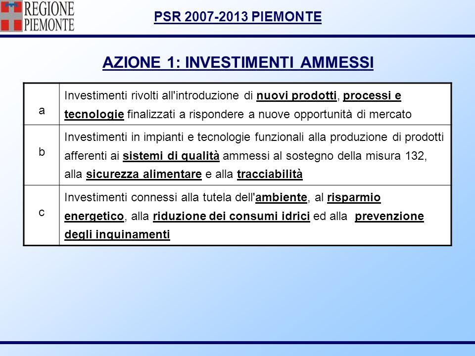PSR 2007-2013 PIEMONTE AZIONE 1: INVESTIMENTI AMMESSI a Investimenti rivolti all'introduzione di nuovi prodotti, processi e tecnologie finalizzati a r