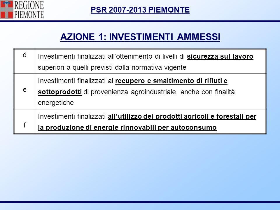 PSR 2007-2013 PIEMONTE AZIONE 1: INVESTIMENTI AMMESSI d Investimenti finalizzati allottenimento di livelli di sicurezza sul lavoro superiori a quelli