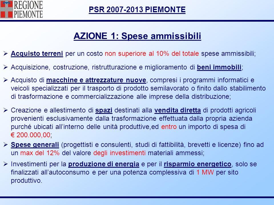 PSR 2007-2013 PIEMONTE AZIONE 1: Spese ammissibili Acquisto terreni per un costo non superiore al 10% del totale spese ammissibili; Acquisizione, cost