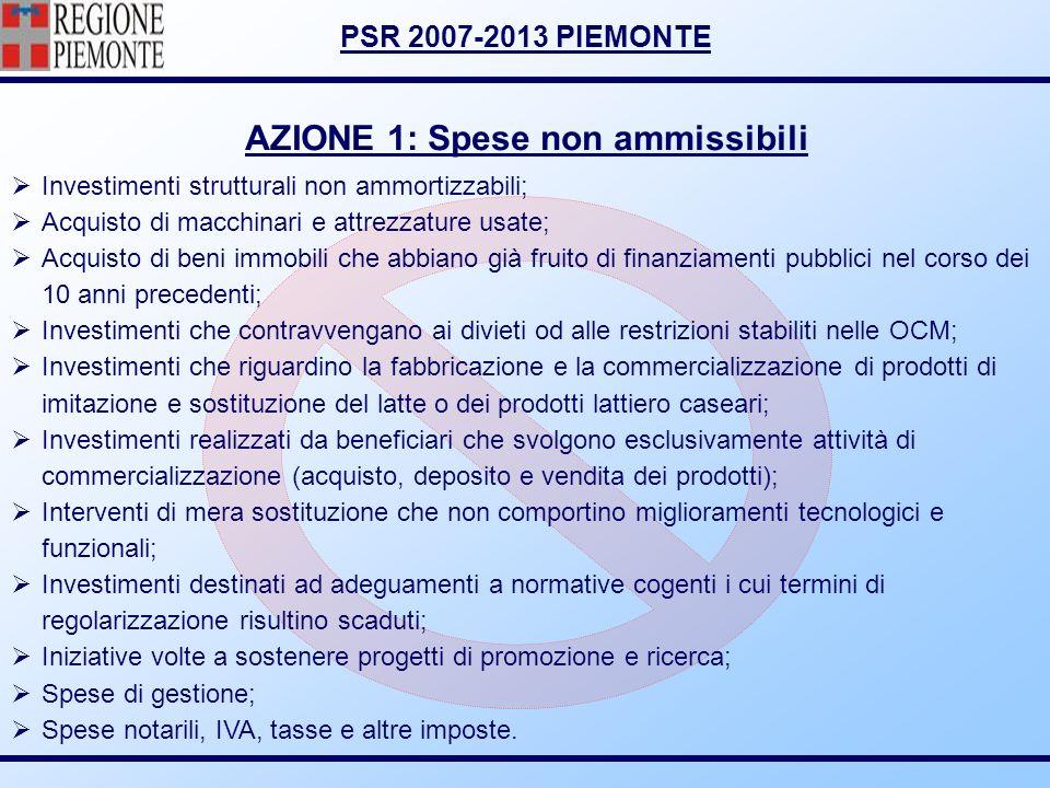 PSR 2007-2013 PIEMONTE AZIONE 1: Spese non ammissibili Investimenti strutturali non ammortizzabili; Acquisto di macchinari e attrezzature usate; Acqui