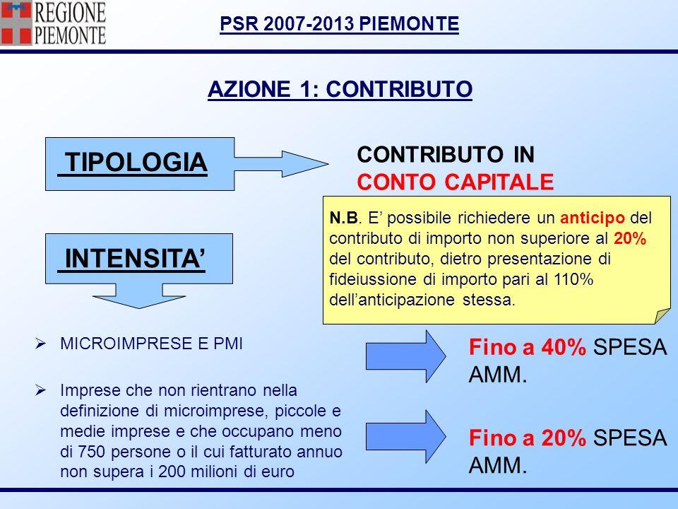 PSR 2007-2013 PIEMONTE AZIONE 1: CONTRIBUTO TIPOLOGIA INTENSITA MICROIMPRESE E PMI Imprese che non rientrano nella definizione di microimprese, piccol