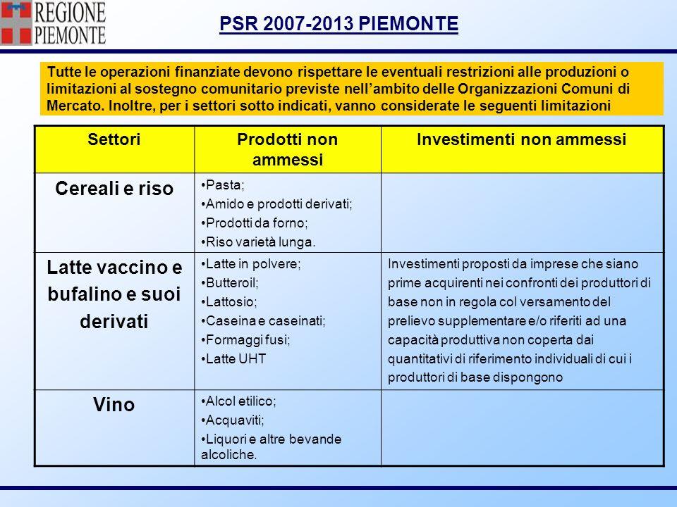 PSR 2007-2013 PIEMONTE Tutte le operazioni finanziate devono rispettare le eventuali restrizioni alle produzioni o limitazioni al sostegno comunitario
