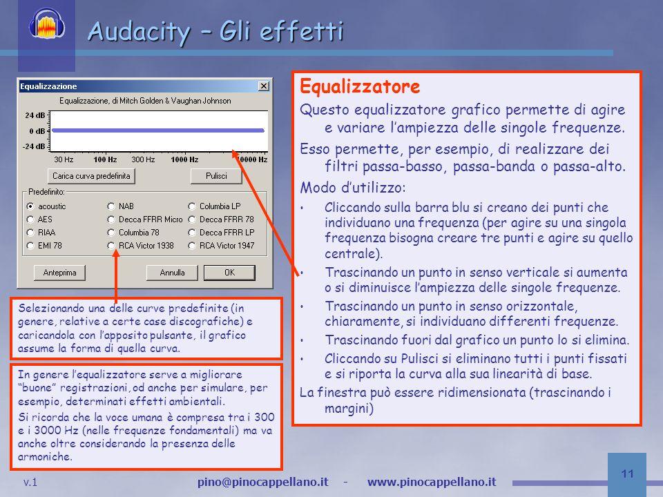 v.1 pino@pinocappellano.it - www.pinocappellano.it 11 Audacity – Gli effetti Equalizzatore Questo equalizzatore grafico permette di agire e variare lampiezza delle singole frequenze.