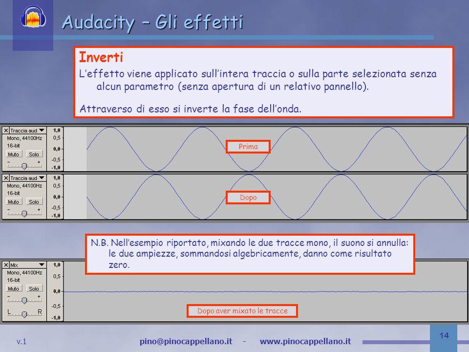 v.1 pino@pinocappellano.it - www.pinocappellano.it 14 Audacity – Gli effetti Inverti Leffetto viene applicato sullintera traccia o sulla parte selezionata senza alcun parametro (senza apertura di un relativo pannello).