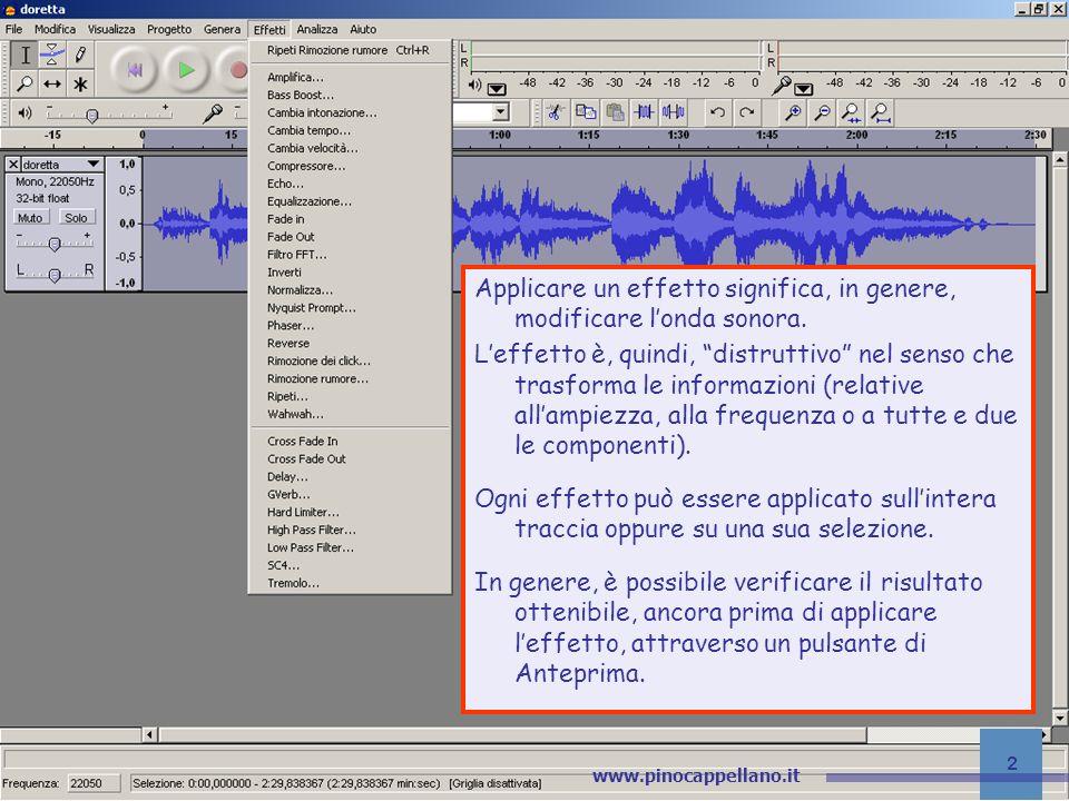 v.1 pino@pinocappellano.it - www.pinocappellano.it 23 Audacity – Gli effetti Delay Leffetto crea un numero specificato di echi.