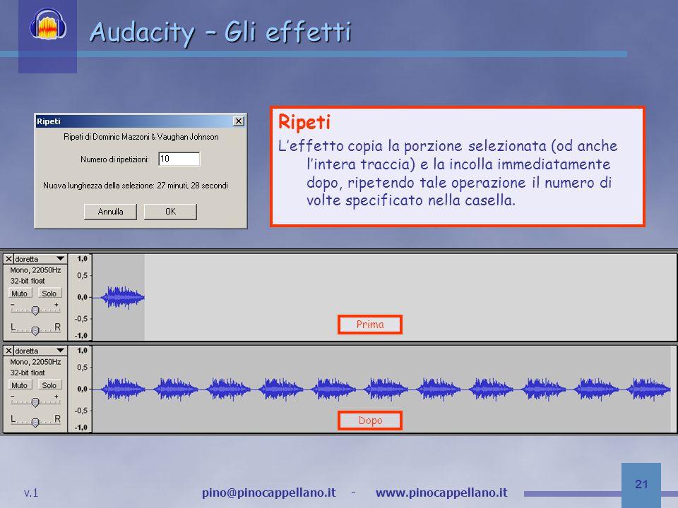 v.1 pino@pinocappellano.it - www.pinocappellano.it 21 Audacity – Gli effetti Ripeti Leffetto copia la porzione selezionata (od anche lintera traccia) e la incolla immediatamente dopo, ripetendo tale operazione il numero di volte specificato nella casella.