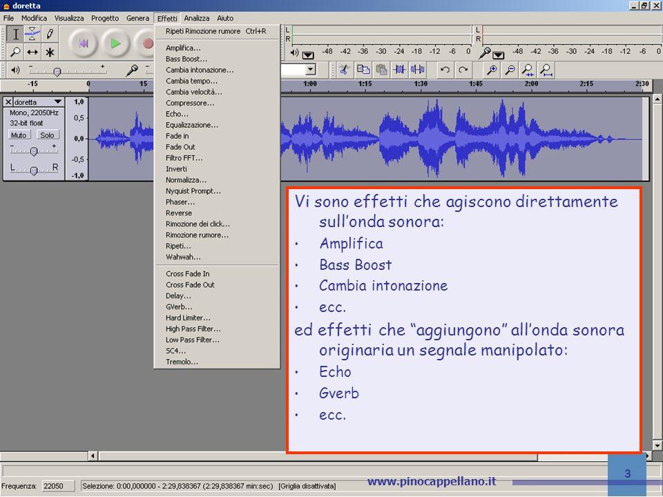 v.1 pino@pinocappellano.it - www.pinocappellano.it 24 Audacity – Gli effetti GVerb Leffetto crea del Riverbero secondo i seguenti parametri: Roomsize (da 1 a 300 metri quadri): grandezza della stanza; Reverb time (da 0,1 a 30 secondi): durata del riverbero; Damping (da 0 a 1): intensità del riverbero; Input bandwidth (da 0 a 1): riguarda la banda di frequenza del riverbero.
