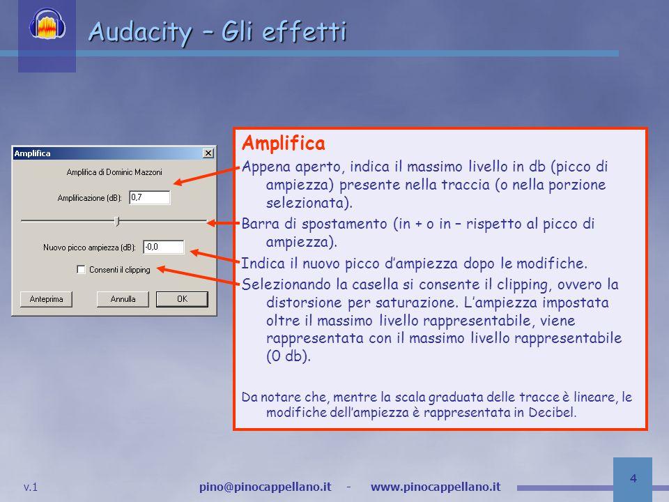 v.1 pino@pinocappellano.it - www.pinocappellano.it 5 Audacity – Gli effetti Bass Boost Amplifica una porzione di basse frequenze (da 0 a max 1000) di un determinato valore in Decibel (da 0 a 36) Si tratta di un equalizzatore mono-banda.