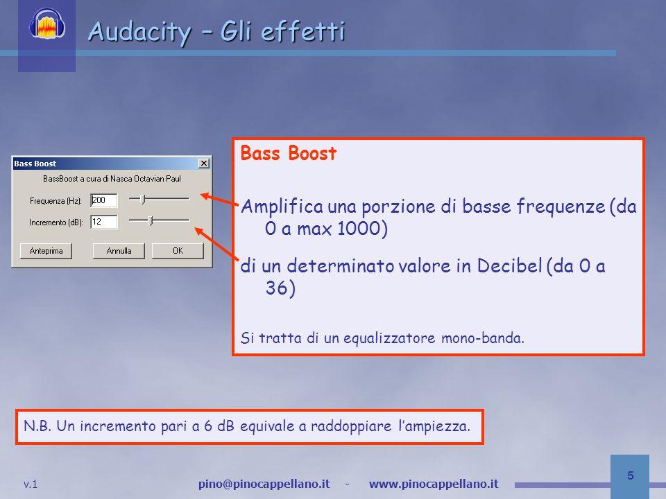 v.1 pino@pinocappellano.it - www.pinocappellano.it 26 Audacity – Gli effetti High Pass Filter Il filtro Passa-Alto taglia tutte le frequenze al di sotto di quella impostata.