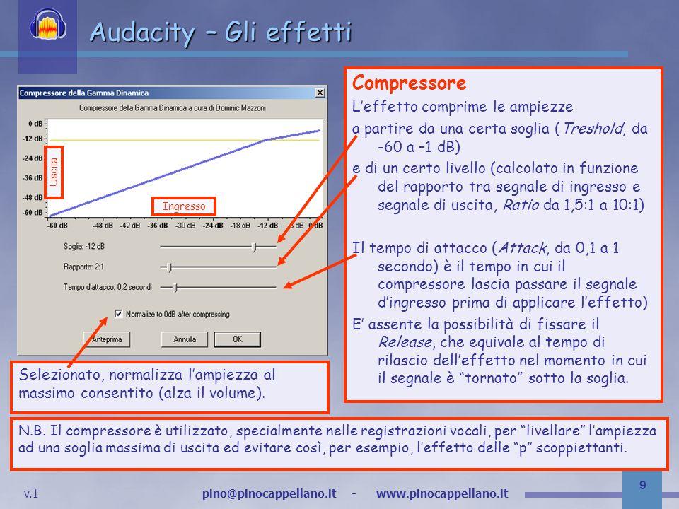v.1 pino@pinocappellano.it - www.pinocappellano.it 9 Audacity – Gli effetti Compressore Leffetto comprime le ampiezze a partire da una certa soglia (Treshold, da -60 a –1 dB) e di un certo livello (calcolato in funzione del rapporto tra segnale di ingresso e segnale di uscita, Ratio da 1,5:1 a 10:1) Il tempo di attacco (Attack, da 0,1 a 1 secondo) è il tempo in cui il compressore lascia passare il segnale dingresso prima di applicare leffetto) E assente la possibilità di fissare il Release, che equivale al tempo di rilascio delleffetto nel momento in cui il segnale è tornato sotto la soglia.