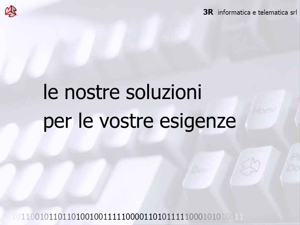 le nostre soluzioni per le vostre esigenze 3R informatica e telematica srl 101100101101101001001111100001101011111000101010011