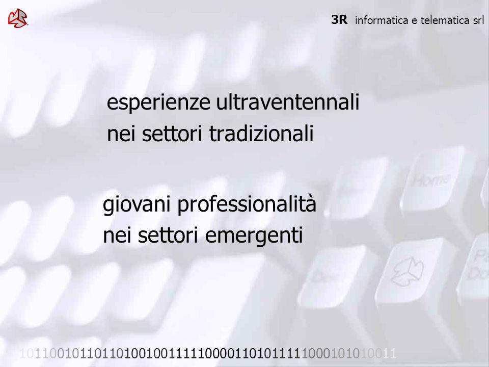 esperienze ultraventennali nei settori tradizionali 3R informatica e telematica srl 101100101101101001001111100001101011111000101010011 giovani profes