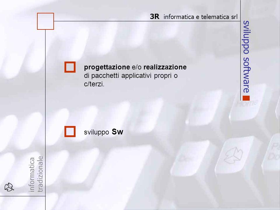 sviluppo software informatica tradizionale progettazione e/o realizzazione di pacchetti applicativi propri o c/terzi. sviluppo Sw 3R informatica e tel