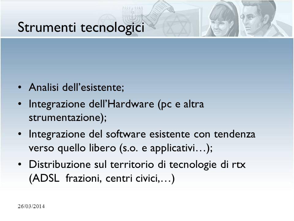 Strumenti tecnologici Analisi dellesistente; Integrazione dellHardware (pc e altra strumentazione); Integrazione del software esistente con tendenza v