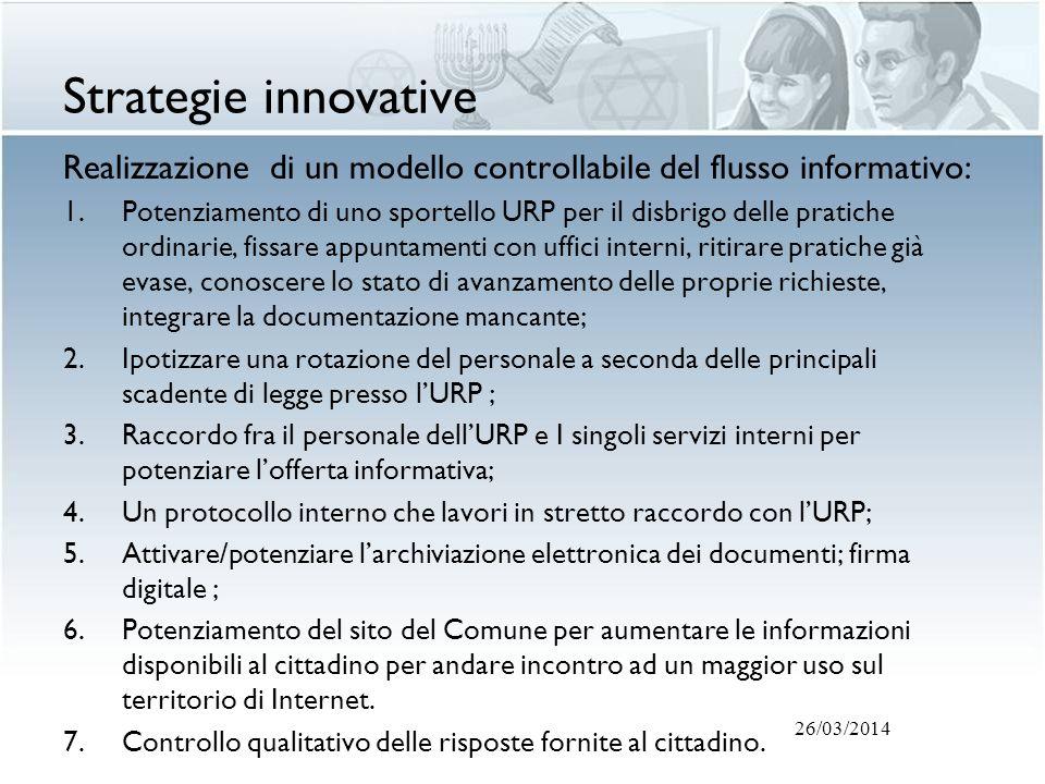 Strategie innovative Realizzazione di un modello controllabile del flusso informativo: 1.Potenziamento di uno sportello URP per il disbrigo delle prat