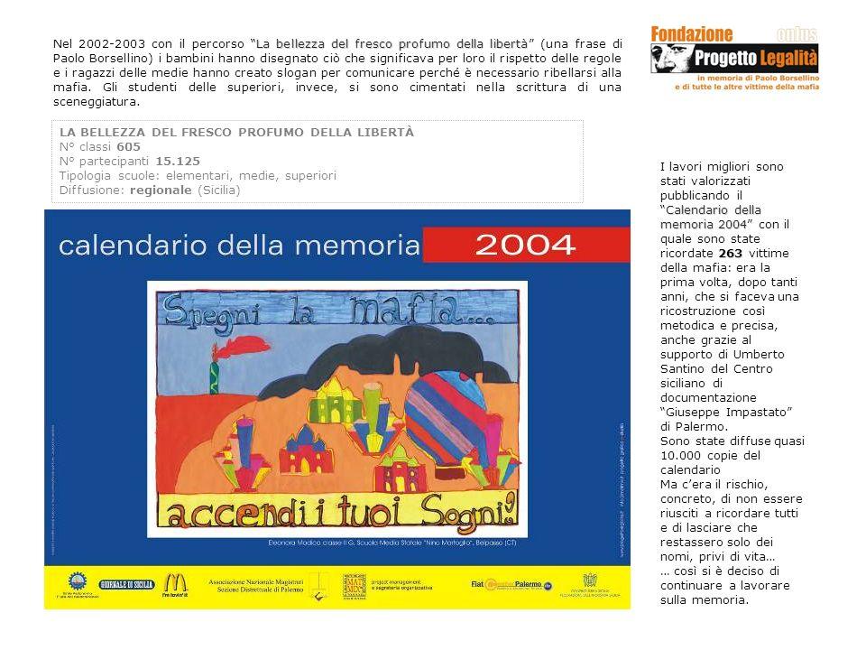 La bellezza del fresco profumo della libertà Nel 2002-2003 con il percorso La bellezza del fresco profumo della libertà (una frase di Paolo Borsellino