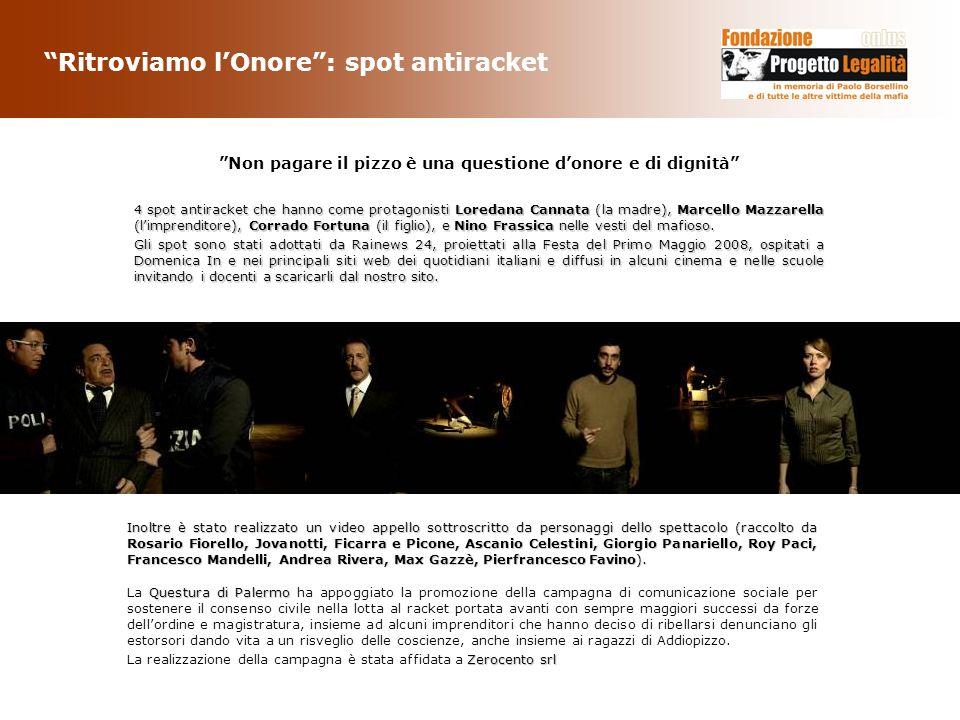 Ritroviamo lOnore: spot antiracket Questura di Palermo La Questura di Palermo ha appoggiato la promozione della campagna di comunicazione sociale per