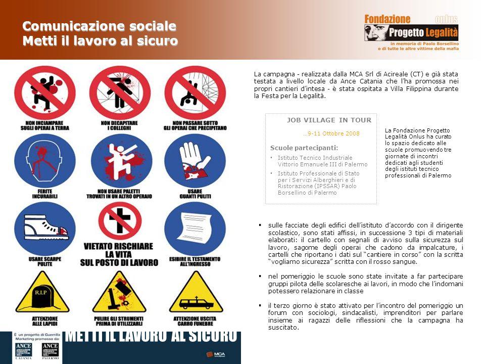 La campagna - realizzata dalla MCA Srl di Acireale (CT) e già stata testata a livello locale da Ance Catania che lha promossa nei propri cantieri dint