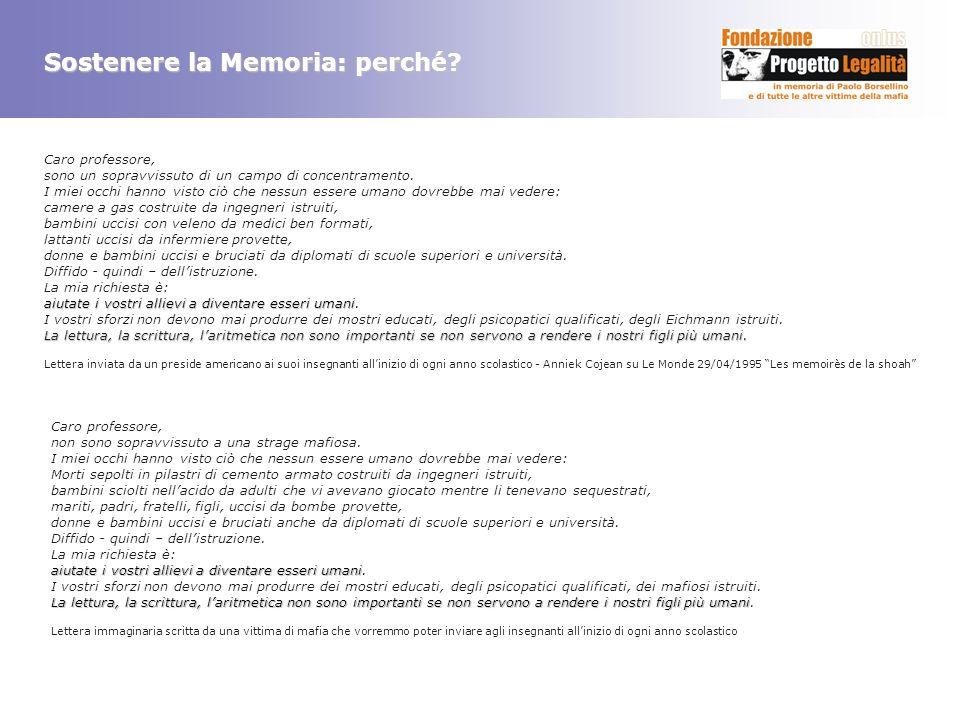 Sostenere la Memoria: perché? Caro professore, sono un sopravvissuto di un campo di concentramento. I miei occhi hanno visto ciò che nessun essere uma