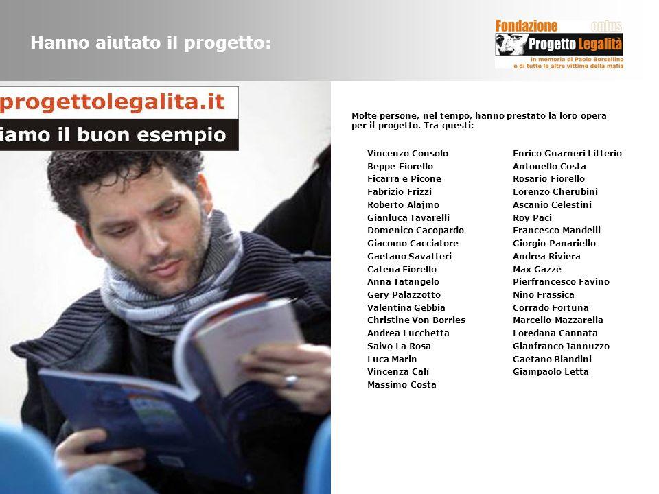 Hanno aiutato il progetto: Vincenzo Consolo Beppe Fiorello Ficarra e Picone Fabrizio Frizzi Roberto Alajmo Gianluca Tavarelli Domenico Cacopardo Giaco
