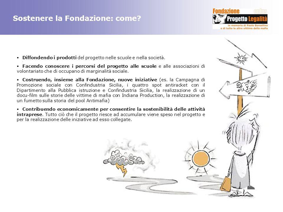 Sostenere la Fondazione: come? Diffondendo i prodotti del progetto nelle scuole e nella società.. Facendo conoscere i percorsi del progetto alle scuol