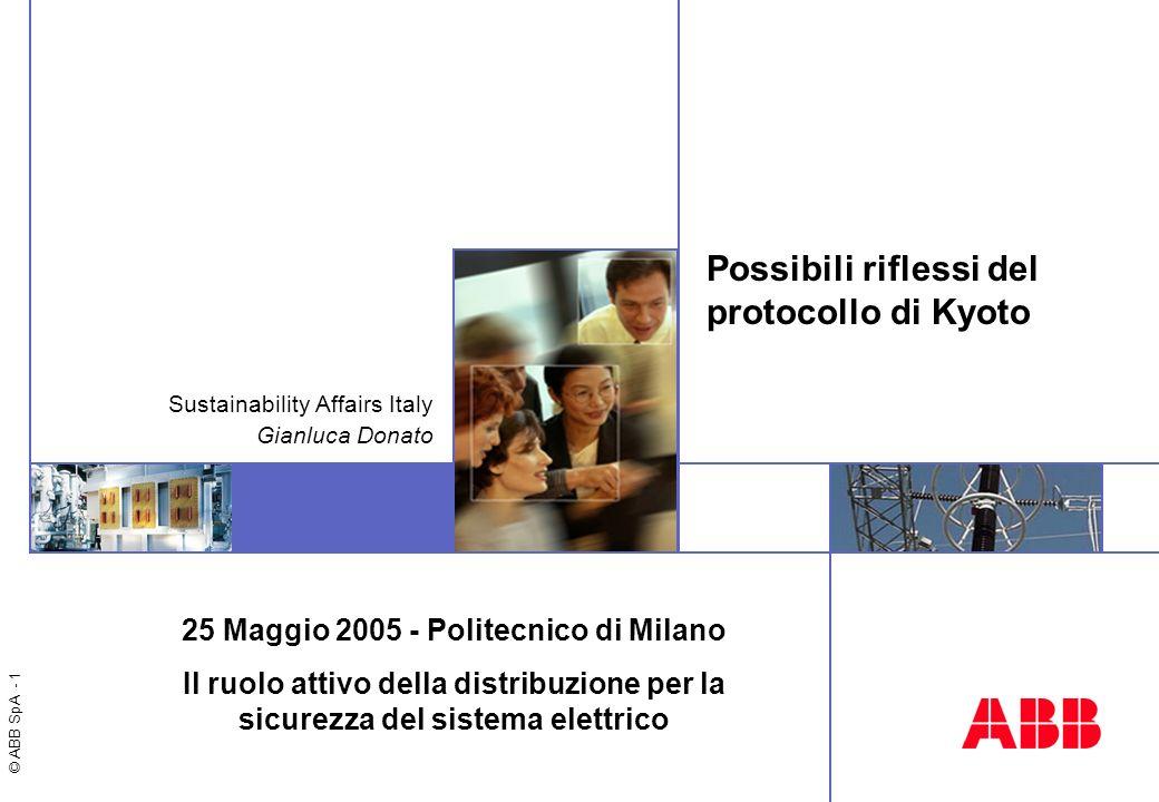 © ABB SpA - 1 Possibili riflessi del protocollo di Kyoto Sustainability Affairs Italy Gianluca Donato 25 Maggio 2005 - Politecnico di Milano Il ruolo attivo della distribuzione per la sicurezza del sistema elettrico