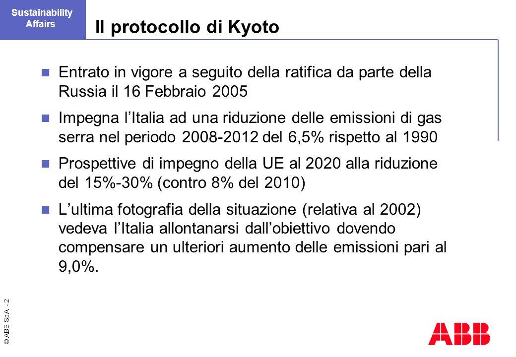 © ABB SpA - 2 Sustainability Affairs Il protocollo di Kyoto Entrato in vigore a seguito della ratifica da parte della Russia il 16 Febbraio 2005 Impegna lItalia ad una riduzione delle emissioni di gas serra nel periodo 2008-2012 del 6,5% rispetto al 1990 Prospettive di impegno della UE al 2020 alla riduzione del 15%-30% (contro 8% del 2010) Lultima fotografia della situazione (relativa al 2002) vedeva lItalia allontanarsi dallobiettivo dovendo compensare un ulteriori aumento delle emissioni pari al 9,0%.