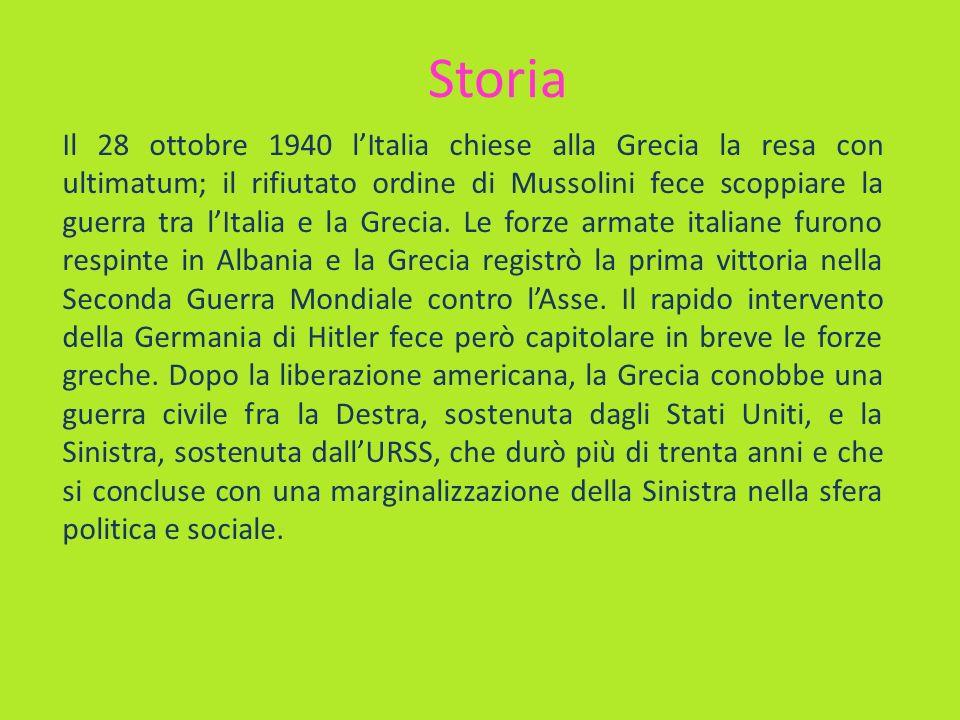 Storia Il 28 ottobre 1940 lItalia chiese alla Grecia la resa con ultimatum; il rifiutato ordine di Mussolini fece scoppiare la guerra tra lItalia e la
