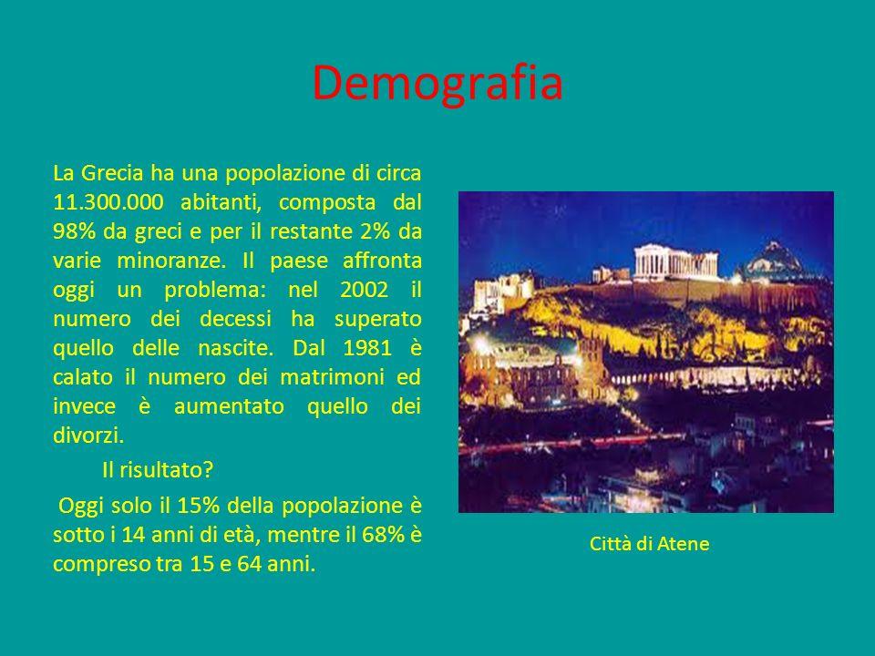 Demografia La Grecia ha una popolazione di circa 11.300.000 abitanti, composta dal 98% da greci e per il restante 2% da varie minoranze. Il paese affr