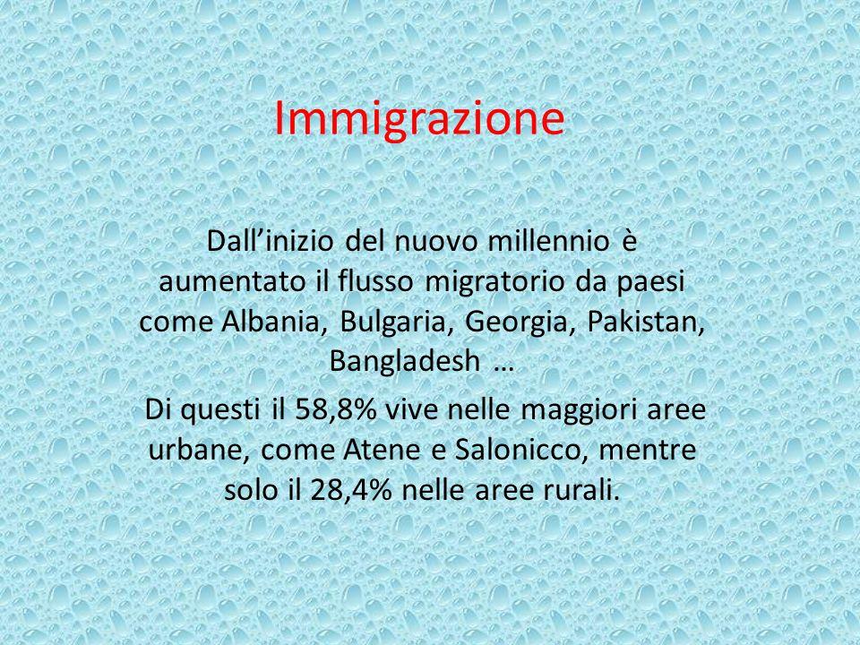Immigrazione Dallinizio del nuovo millennio è aumentato il flusso migratorio da paesi come Albania, Bulgaria, Georgia, Pakistan, Bangladesh … Di quest