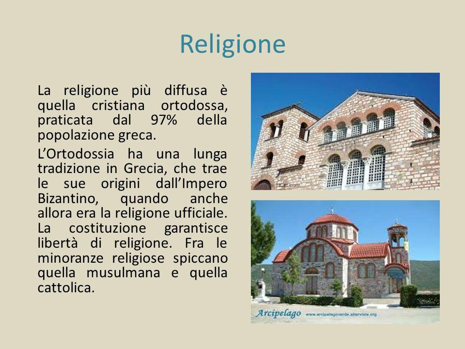 Religione La religione più diffusa è quella cristiana ortodossa, praticata dal 97% della popolazione greca. LOrtodossia ha una lunga tradizione in Gre